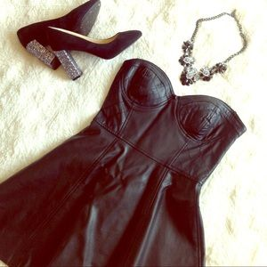 Dresses & Skirts - EUC strapless black dress faux leather quilted